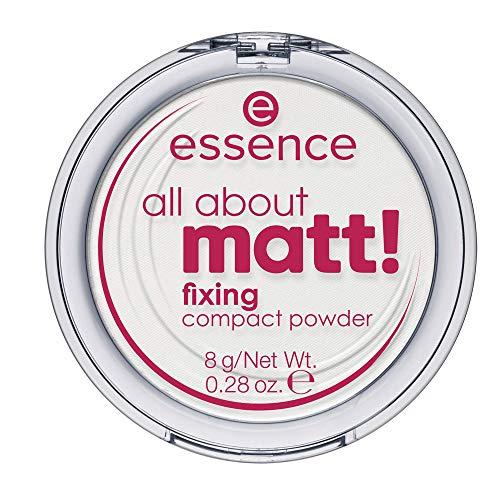 essence all about matt! fixing compact powder, Puder, weiss, für Mischhaut, langanhaltend, mattierend, matt, vegan, Nanopartikel frei, entspricht unserem CLEAN BEAUTY Standard (8g)