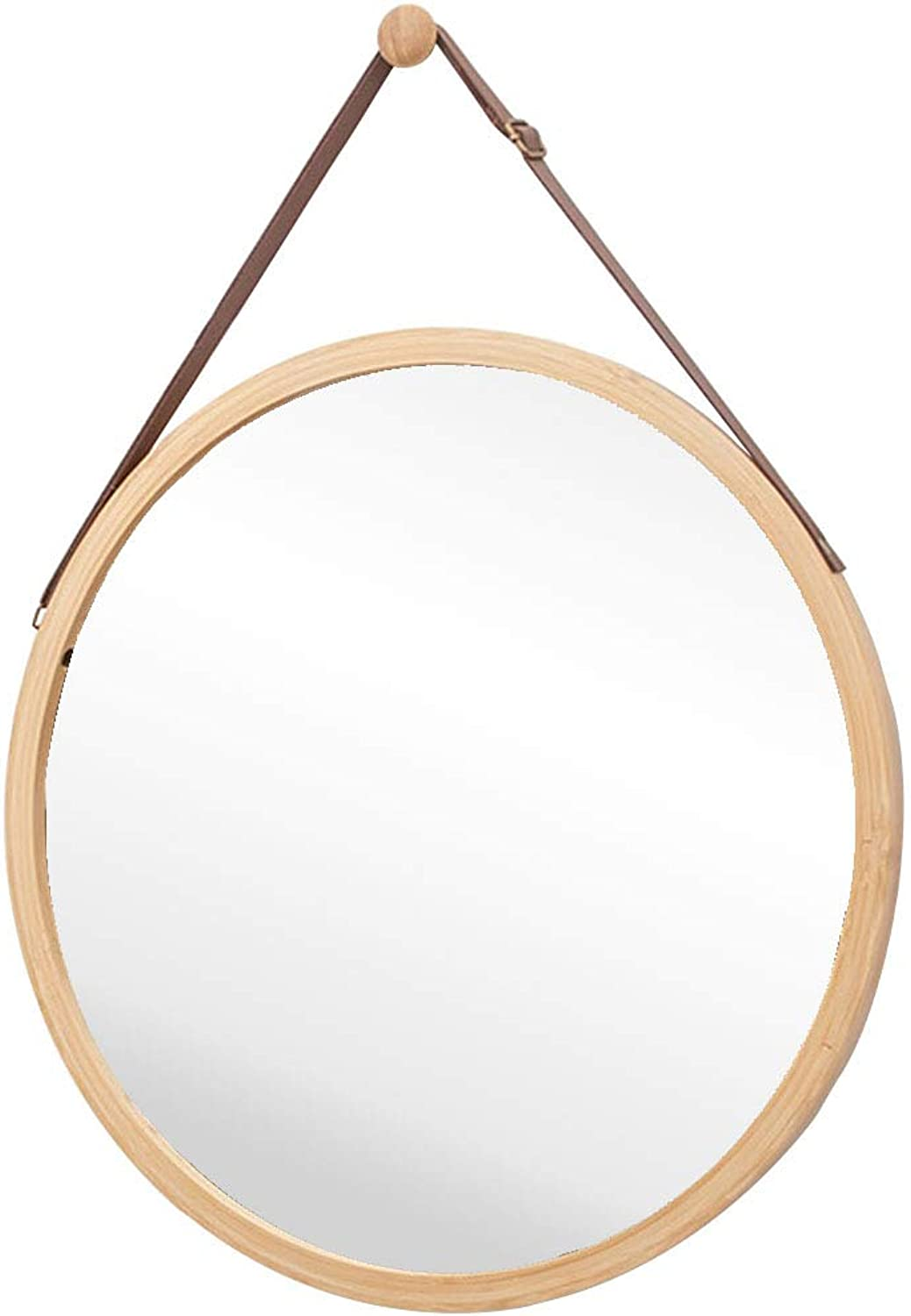 15-17.7 Inch Round Wall-Mounted Mirror with Leather Hanging Strap (Adjustable) Bamboo Frame Mirror for Bathroom Makeup Bedroom Hallway Home Decoration,Natural color