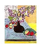 Vase mit Amaryllis von Henri Matisse Leinwand Bilder,Kunstdruck auf Leinwand,Foto Canvas Bild,Leinwandbild XXL Wohnzimmer & Schlafzimmer,Aufgespannt auf 2cm Holzrahmen (30x35cm/12x14inch,Ungerahmt)