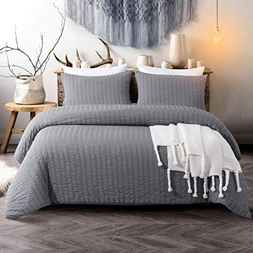 [hachette] SEERSUCKER DUVET COVER BEDDING BED SET WITH PILLOWCASES (Charcoal Grey, King)