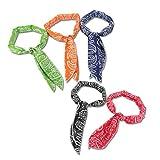 Keklle Ice Cool Scarf Neck Wrap Headband Bandana Cooling Scarf, 5 Pcs Value Pack (Navy, Black, Orange, Red, Green)