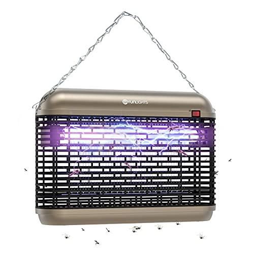 YUNLIGHTS Lámpara Antimosquitos Eléctrico: 20W Mosquito Lámpara Trampa Silencio Lampara para Mata Mosquitos y Insectos Moscas, Control Insecto Efecto 60m² Dispositivo de Suspensión (Champán)
