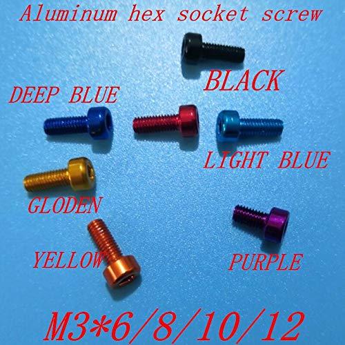 THNQ 10pcs / Lot M3 * 6/8/10/12 bunten Aluminium hex Einfaßungskappen Kopf anodisiert Schraube (Color : Deep Blue, Size : 6mm)