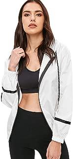 Women's Stripe Hooded Panel Windbreaker Casual Drawstring Zip up Sports Lightweight Jacket