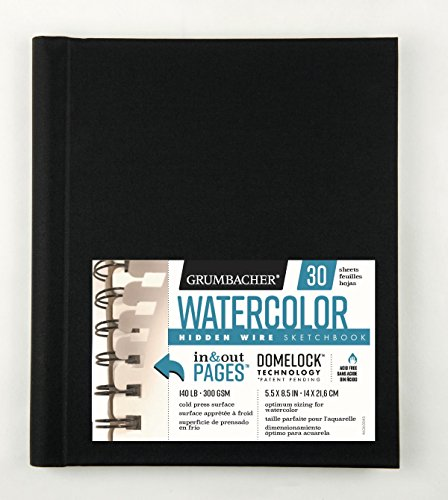 Grumbacher Watercolor Paper Hardcover Sketchbook with In and Out Pages and Hidden Wire, 140 lb./300 GSM, 5.5 x 8.5 Inches, 30 White Cold-Press Sheets, 460600463
