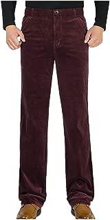 Landscap Men Winter Casual Solid Pants Straight Plush Warm Trousers Business Loose Corduroy Pants
