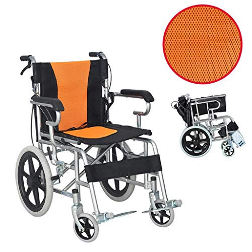 AOLI Faltbare tragbare Reise Rollstuhl, tragbare Behinderte Rollstuhl, Geeignet für Senioren, Behinderte, Medical Rollstuhl, Schwarz,Chrom