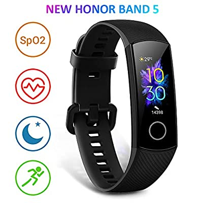 HONOR Band 5 Fitness Tracker, Activity Tracker with SpO2 Monitor Heart Rate and Sleep Monitor Calorie Counter Pedometer Step Tracker Bracelet for Men Women Kids, Black