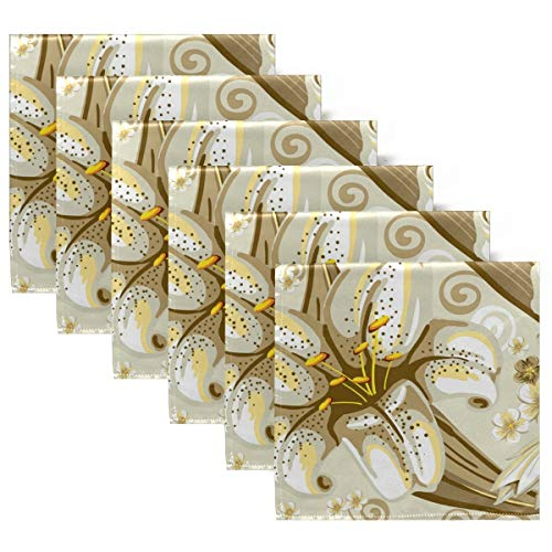 MNSRUU Stoffservietten, Polyester, 6 Stück, Lilien-Servietten, ideal für drinnen und draußen, besondere Anlässe oder Dinnerpartys