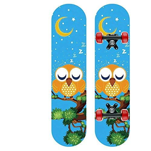 Kaikai Monopatín de Cuatro Ruedas de patineta, niños y Scooter de niños, Tablero de Arce Medio, Doble Rocker, Skate 2406, 60x15x8cm (Color : Blue1)