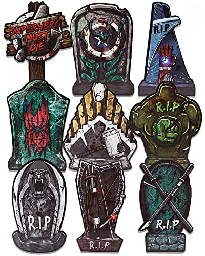 """Halloween Tombstones Decorations 17"""" Superhero RIP Yard Signs with Plastic Stakes Scary Headstone Decor Sarcastic Foam Large Graveyard Sign for Indoor Outdoor Lawn Yard Decor Party Supplies Clearance"""