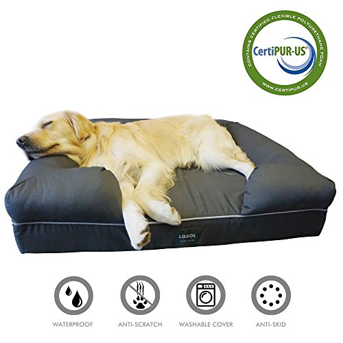 LOAOL Memory Foam Dog Bed Durable Waterproof Pet Sofa Couch with Bolster Orthopedic Cat Lounger Removable Cover (L, Woven Gray)