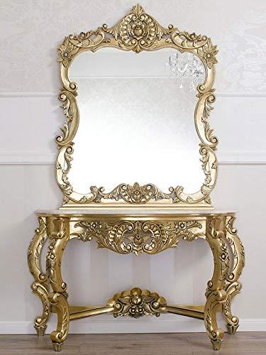 Simone Guarracino Console avec Miroir Laia Style Baroque Français Feuille Or et marbre crème Pierres Cristal SW