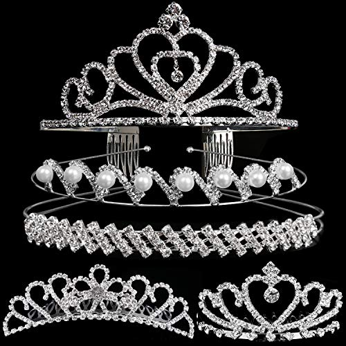 Set of 5 Crystal Headband, Teenitor Rhinestone Headbands for Women Hair Jewelry Wedding Headband Crown Party Tiaras-Silver