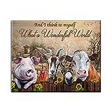 TammieLove And I Think To My Self Farm Farmhouse Animals Granja Vaca occidental S Set rústico de decoración de pared Cartel de garaje Decoración de pared de metal 20 x 30 cm