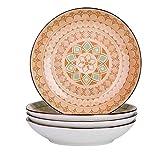 vancasso Tulip Platos Hondos 4 piezas Vajillas de Porcelana Redondo 21cm 700ML Plato de Sopa Colores -Mandala