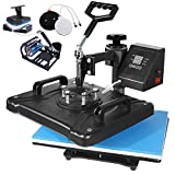 "SURPCOS Heat Press Machine 5 in 1 Heat Transfer Machine 12""x15"" Digital Sublimation Heat Press Machine for T-Shirts Hat Mug Plate Cap Sports Bottle with 360-Degree Swing Away Function"