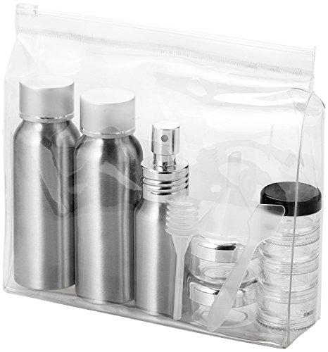 Set da viaggio liquidi con flaconi in alluminio e custodia in plastica