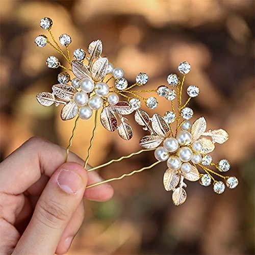 Zoestar Horquillas para el pelo de novia de boda con perlas de...