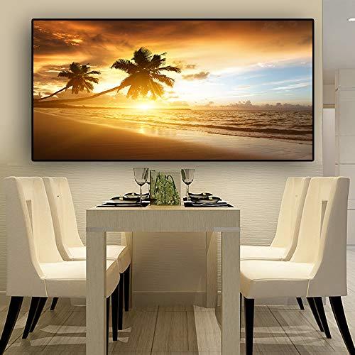 sanzangtang Kokosnussbaum Sonnenuntergang Meer Strand Landschaft Poster und Drucke Leinwand Panorama Wohnzimmer Wandmalerei rahmenlose Malerei 50cmx100cm