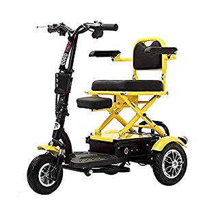 WGFGXQ Lightweight Wheelchair Compact Folding Portable Electric Tricycle Small Folding Leisure Adult Disabled Tricycle Lithium Battery Electric Mobility Scooter for The Elderly Assisted Wheelchair