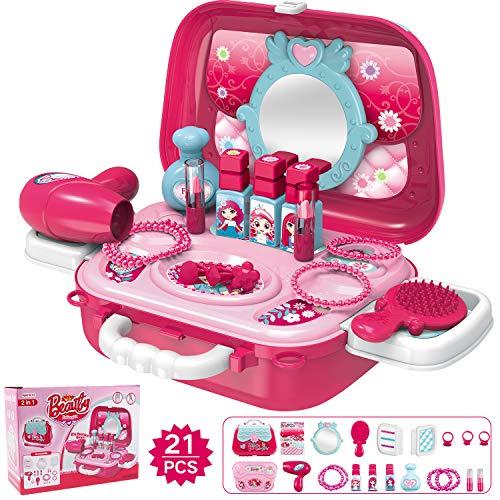 Hiveseen Rollenspiel Spielzeug Schminkset kinderfön 2 in 1 Set mit Vielen Zubehör für Mädchen Prinzessin 3 Jahre alt