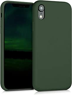 kwmobile TPU Silicone Case Compatible with Apple iPhone XR - Soft Flexible Rubber Protective Cover - Dark Green