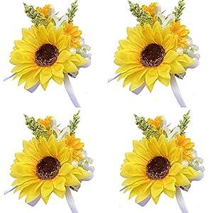 4pieces/lot artificial sunflower groom boutonniere man women bride wrist corsage artificial wedding flowers party decoration (yw-wrist corsage)