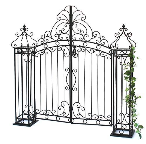 DanDiBo Gartentor Schwarz 120 cm Gartentür 170747 Eingangstor Gartenpforte Metall Antik Pforte Eisen