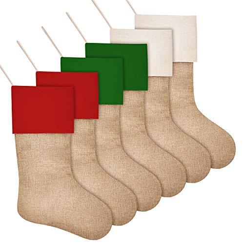 SAVITA 6 Stück Weihnachtsstrümpfe, 3 farbige Weihnachtskamin hängende Strümpfe für Weihnachtsdekorationen, Sackleinen Weihnachtsstrümpfe als Geschenk, Süßigkeiten, DIY Craft (42 cm)