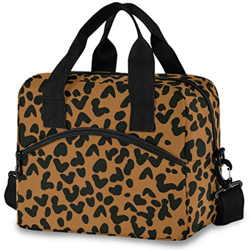MNSRUU Insulated Lunch Bag Leopard Print Lunch Tote Reusable Cooler Bag Container with Adjustable Shoulder Strap