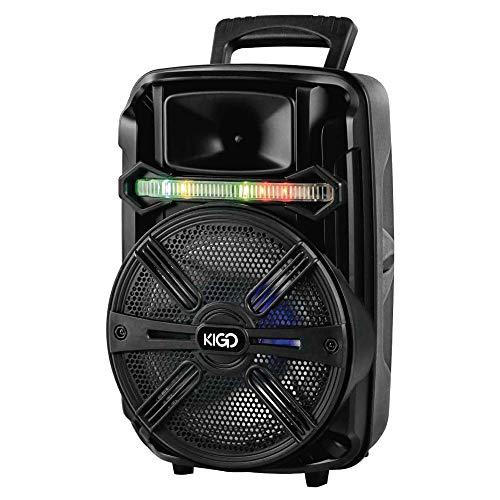 Bafle Altavoz bluetooth marca KIGO de 8 pulgadas con control remoto y micrófono alámbrico para karaoke, pila recargable de 1500 mAh con 20 Watts RMS, Bluetooth 4.2, Frecuencia 100 Hz-20KHz, Radio FM, acepta memorias USB y memoria SD con capacidad de reproducir MP3, incluye cable de audio y cable cargador, capaz de emparejarse con otra bocina (TWS) y cuenta con luz disco.