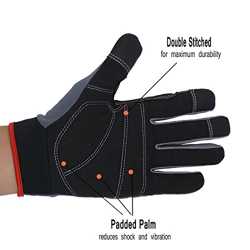 Handlandy Mens Work Gloves Touch screen, Synthetic Leather Utility Gloves, Flexible Breathable Fit- Padded Knuckles & Palm (Large)