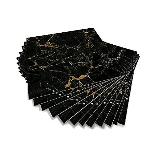 Hiseng 12 Piezas Adhesivos Decorativos para Azulejos Pegatinas para Baldosas del Baño/Cocina Serie de Mármol 3D Resistente al Agua Pegatina de Pared (Oro Negro,20 x 20cm)