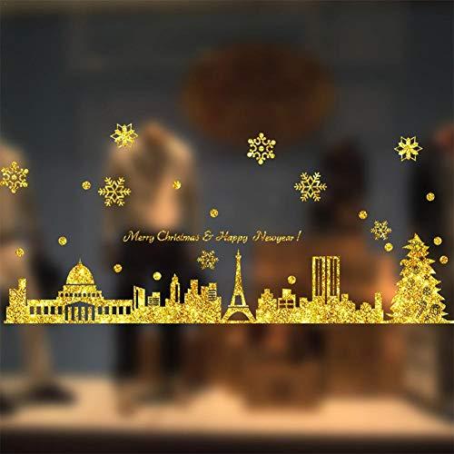 cuffslee Christmas Window Stickers Decals, Weihnachtsfensteraufkleber, Weihnachtsschneeflocken-Wandaufkleber für weihnachtliche Fenster Dekoration - Weinachten Deko