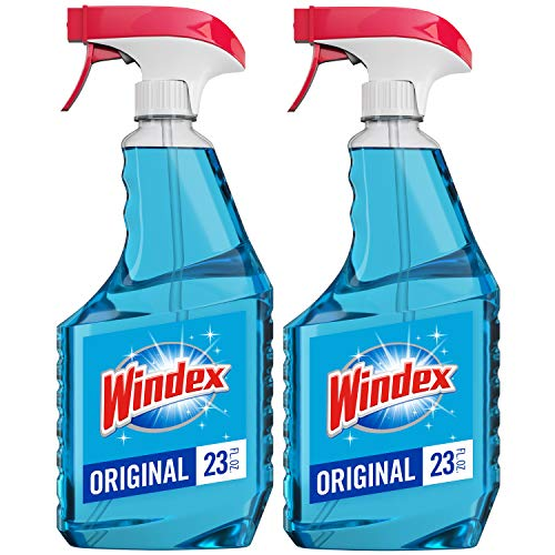 Windex Glass and Window Cleaner Spray Bottle, Original Blue, 23 fl oz - Pack of 2