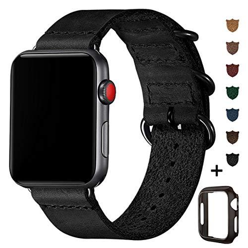 BesBand Retro Lederbänder Kompatibel mit Apple Watch Armband 42mm 44mm 38mm 40mm,Echtes Leder Vintage Armbänder Kompatibel für Männer Frauen iWatch Series5 Series4/3/2/1 (42mm 44mm, Schwarz/Schwarz)