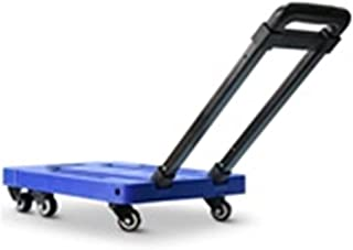 JXSHQS Hand Cart Trolley Folding Portable Small Household Cart Supermarket Mini Handling Trailer Portable Luggage Cart Six Wheel Loading Trolley (Color : Blue)