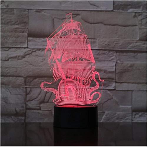 Barco de vela Led 3D Luz de noche Cable USB ajustable de 7 colores Interruptor táctil Lámpara de escritorio Artículos de equipamiento para barcos Regalo