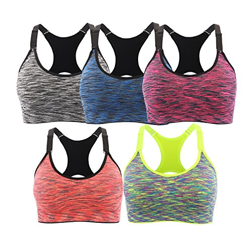 EMY Sports Bra for Women Space Dye Racerback Removable Pads for Fitness Gym Yoga Running (L, 5 Pack)