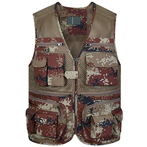 Sommer Mesh Weste Herren Weste Dünn Abschnitt Angeln Fotografie Multi Pocket Vest Camouflage Gr. XXXXL, Rot/Camouflage