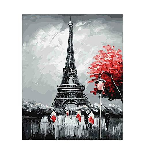 YAXIANXU Pintura por Números para Adultos Y Niños Principiante para ,con Pinceles Y Pinturas Se Puede Utilizar como Regalo Y Decoración del Hogar-Torre Eiffel 40 X 50 Cm Sin Marco