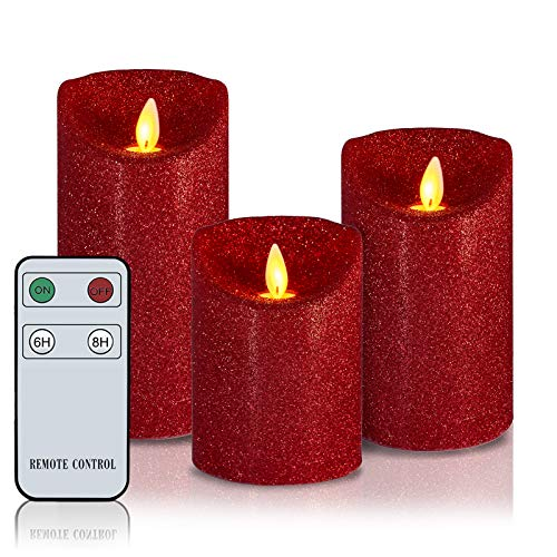 Glitter Flameless Candles Dancing Flame Battery Operated Real Wax Flickering LED Candle H4'5'6' xD3' Set of 3 Electric Pillar Candles with Remote 6/8 Hours Timer