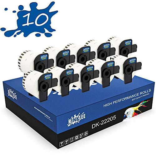 RINKLEE DK-22205 Endlos-Etiketten kompatibel für Brother P-Touch QL-500 QL-550 QL-560 QL-570 QL-700 QL-710W QL-720NW QL-800 QL-810W QL-820NWB QL-1060N QL-1100 QL-1110NWB | 62 mm x 30.48 m | 10 Rollen