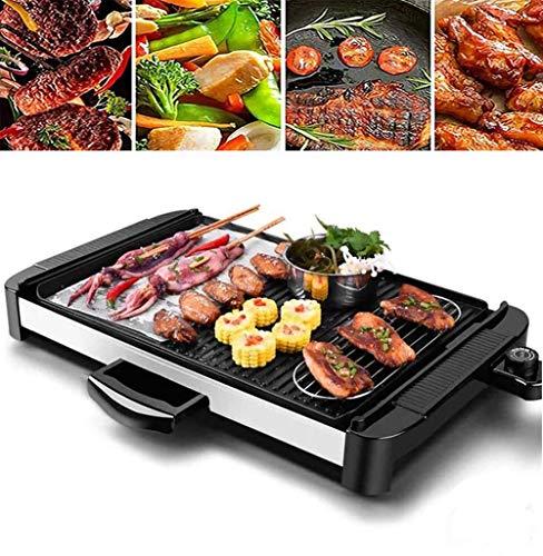 SLRMKK Grill, elektrischer Grill Grill Rauchfreier Tisch Grill Grill Antihaft-Pfanne Elektroherd mit 5 Temperatureinstellungen
