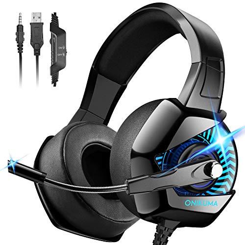 ONIKUMA PC Headset, Gaming Headset mit Geräuschunterdrückung & Mic PS4 Headset Gaming Kopfhörer für PS4 PC Xbox One Headset Mac Nintendo Switch