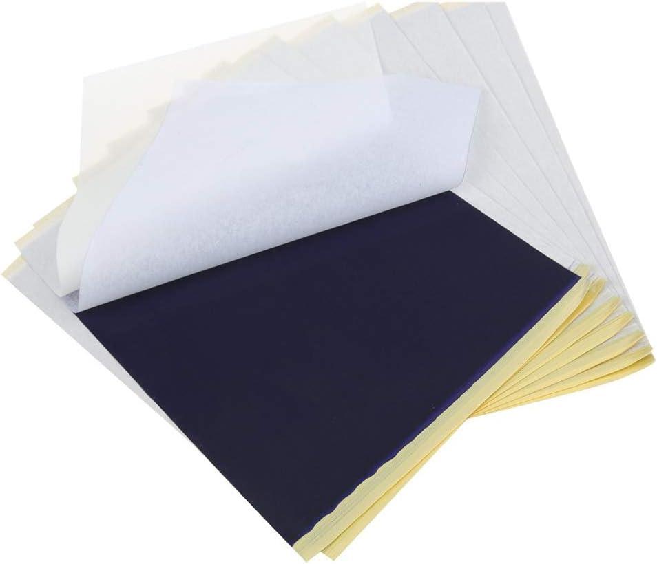 Pppby Lot de 100 feuilles de papier transfert pour tatouage 29,7 x 21,1 cm Papier calque carbone 4 couches Id/éal pour le tatouage et la copie