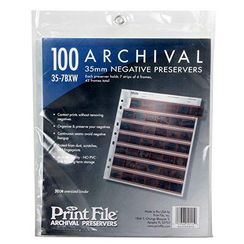 100x Printfile Archival Storage Sheets 35mm 135 Negative Page Preservers 35-7BXW
