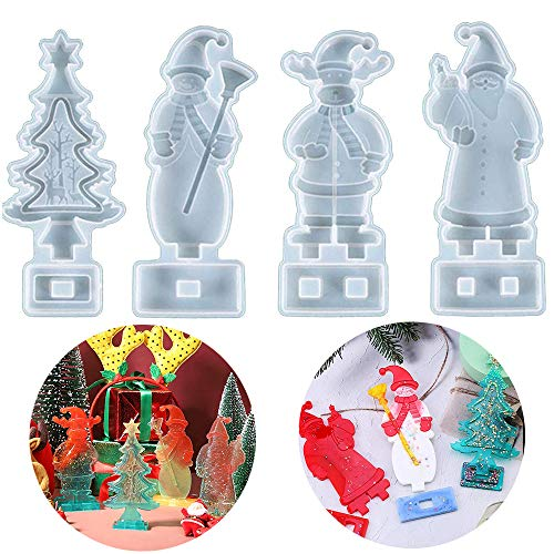 Christmas Tree Snowman Reindeer Santa Resin Moulds Jewelry Making Silicone Molds Crystal Epoxy Casting Mould for Xmas Decoration Ornament Gift DIY Gift Pack of 4