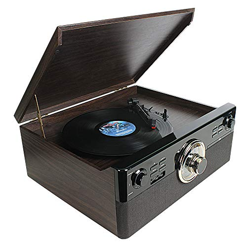 Cassette Record Player,dl Vintage Turntable with Bluetooth 2x5W Stereo Speaker Buit in CD & USB Encoding,EQ,Prog,FM,AUX in,RCA Output Record Player